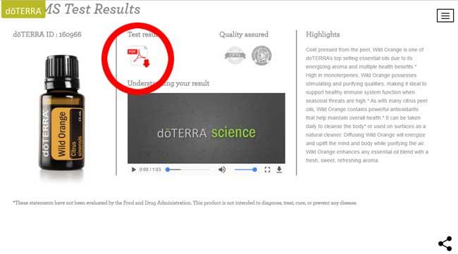ドテラの成分分析表